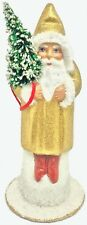 Ino Schaller Golden Shimmer Santa German Christmas Paper Mache Candy Container