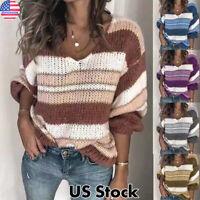 Women's Stripe Loose Sweater Tops Long Sleeve V Neck Jumper Knit Pullover Blouse