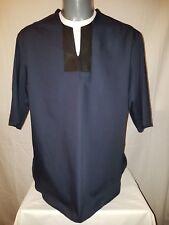 UNISEX - Navy Blue Shirt / Top.UniqueDeep V Black Leather Trim Neckline.