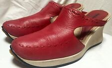 "DIESEL Red Leather Canvas Clog Slip On Wedge ""MINT""sz 9 EU 40"