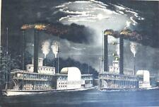 1875 Midnight Race on the Mississippi Hand-Colored Lithograph Currier & Ives