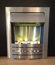 ELECTRIC BRUSHED SILVER STEEL WALL INSET FIRE PEBBLE FIREPLACE SUITE SURROUND