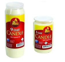 9 DAY  & 3 DAY Memorial Candles - - - - tall pillar single wick wax lot deal