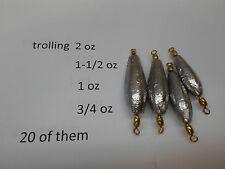 TROLLING SINKERS  40 OF THEM       3/4,1,1-1/2,2 OZ #7 ROSCO  SWIVEL