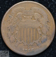 1865 Two Cent Piece, Fine Condition, Buy 4 & Get $5 Off, Free Shipping, C5127