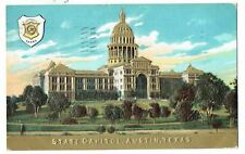 Embossed Gold - State Capital, Austin Texas - Postmark 1909