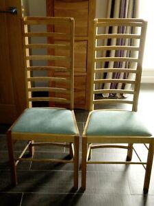 Pair Reproduction Charles Rennie Mackintosh Willow Tea Room Chairs 1903-4 V Rare