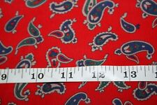 """Small Red Paisley Print 2 2/3 yds 45"""" wide Fine Corduroy Christmas New (A38)"""