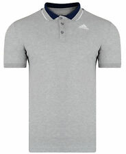 New Mens Adidas Essentials Climalite Polo Shirt T-Shirt - Grey