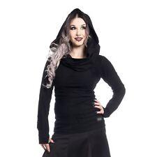 Vixxsin Women's Black Goth Long Sleeve Cowl Neck Hood Purity Top 12