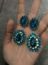 "2.5"" Big Teal Blue AB Long Crystal Pageant Wedding Chandelier Earrings Clip On"