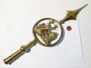 19thC Heraldry 2 Family LIVERY Crests Friendly Society Brass Pole Head #13