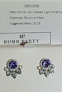 Bomb Party RBP 2998 Light Amethyst Paw Print earrings !