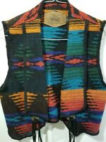 Vintage Whoolrich Womans Rare Native Print Western Style Wool Vest~Size Med