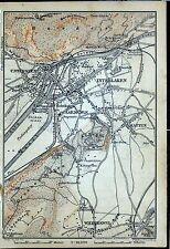 INTERLAKEN, alter farbiger Stadtplan, datiert 1901
