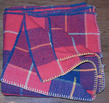 Antique   Homespun Checkered Wool Blanket    67 x 67 in. Two Panels