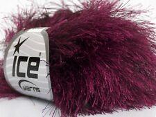 38Yd Wine Extra Long Eyelash Yarn #42078 Ice Luxurious New Shade Fun Fur 50 Gram
