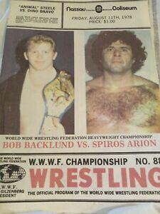 mint WWWF NWA 1978 Wrestling program  Backlund Steele Graham Arion AWA Rivera