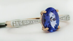 TANZANITE 0.77 Cts & GENUINE DIAMONDS RING 10K ROSE GOLD * New With Tag *