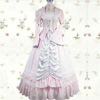 Gothic Punk Long Sleeves Lolita Pink Dress Cosplay Costume Halloween