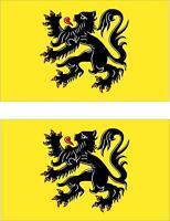2x Adhesivo adesivi pegatina sticker vinilo bandera belgica flandes