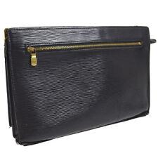 AUTHENTIC LOUIS VUITTON ENGHIEN CLUTCH HAND BAG BLACK EPI LEATHER M52112 V23996