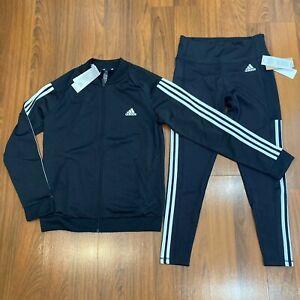 adidas Women's Jacket Pants 2pc Set Size M Tracksuit Black New