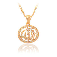Muslim Allah Charm Pendant 18K Gold Plated Necklace Rhinestone Women's Jewelry