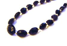 Gorgeous Fancy 925 Sterling Silver 100cttw Faceted Black Agate Necklace F72