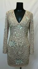 Jovani Long Sleeved Jeweled Illusion Cocktail Dress CB8 Nude Blush Size 2