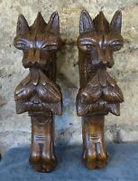 Pair of Antique French Oak Carved Wood Chimera Griffin Gothic Console  19th