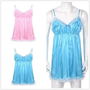 Men's Lace Satin Underwear Frilly Crossdress Nightwear Lingerie Fancy Dress