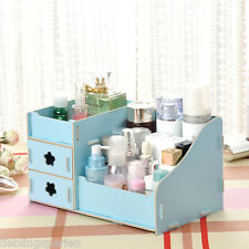 LP 1 Blau Aufbewahrungsbox Organizer Kosmetik Make-up Box Holz 25x16x13.5cm