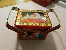 Coca-Cola Santa Claus Tin with 2 Handles / Basket with Cover 1994