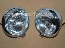 2x Chrome 12V Motorcycle Bullet Headlight Head Lamp For Harley Davidson Chopper