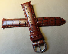 New Timex Burgundy Padded Crocodile Grain 18mm Watch Band Silver Tone Buckle