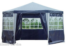 Pavillon PE Gartenzelt 6-Eck Partyzelt Wasserdicht mit 6 Seitenteilen in Blau