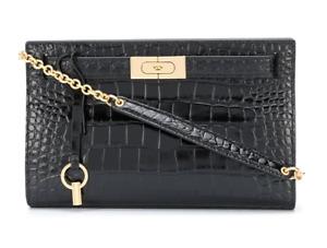 Tory Burch Lee Radziwill Convertible Clutch Handbag Crocodile-Effect Leather