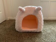 dog bed cave, pink, soft, cozy, brand new condition, easy to clean.