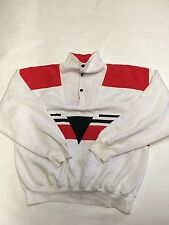 Mens MARIAH White/Red Vintage Pullover Snap Button Sweater Sz M