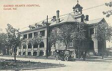 c1910 Sacred Hearts Hospital w/Car Out Front, Garrett, Indiana Postcard