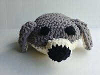 Crochetted Plush Stuffed Harp Ocean Seal Textured & Super Soft Gray & White