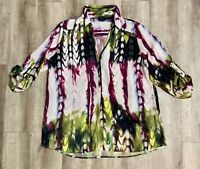 Mossimo Painterly Print Open Neckline Shirt-Blouse Long Sleeve Size XL Casual