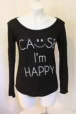 FREE KISSES ~ BLACK TOP SIZE S ~ CAUSE I'M HAPPY ~ NWT