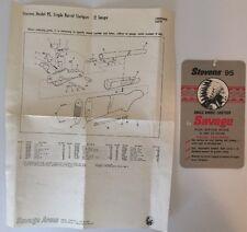 Vintage Original Savage Arms Corp. Model 95 Gun Hang Tag & Parts Sheet