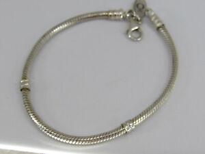 "Pandora Sterling Silver Charm Starter Snake Chain Bracelet 7.5"""