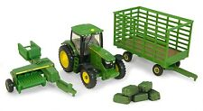 John Deere 6210R Cab Tractor With 338 Baler & Wagon & Bales 1:64  Ertl 2012 New