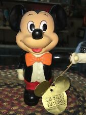 Vintage Mickey Mouse Bank With Original Tag 6 Inch Pointer Finger Up!!
