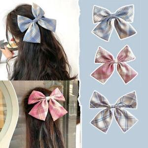 JK Big Bow Hairpin Cute Lattice Hair Clip Women Hairgrip Korean Hair Accesso.BI