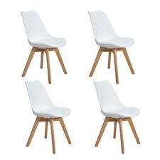 4er Set Esszimmerstühle mit Massivholz Eiche Bein Retro Design Gepolsterter Weiß